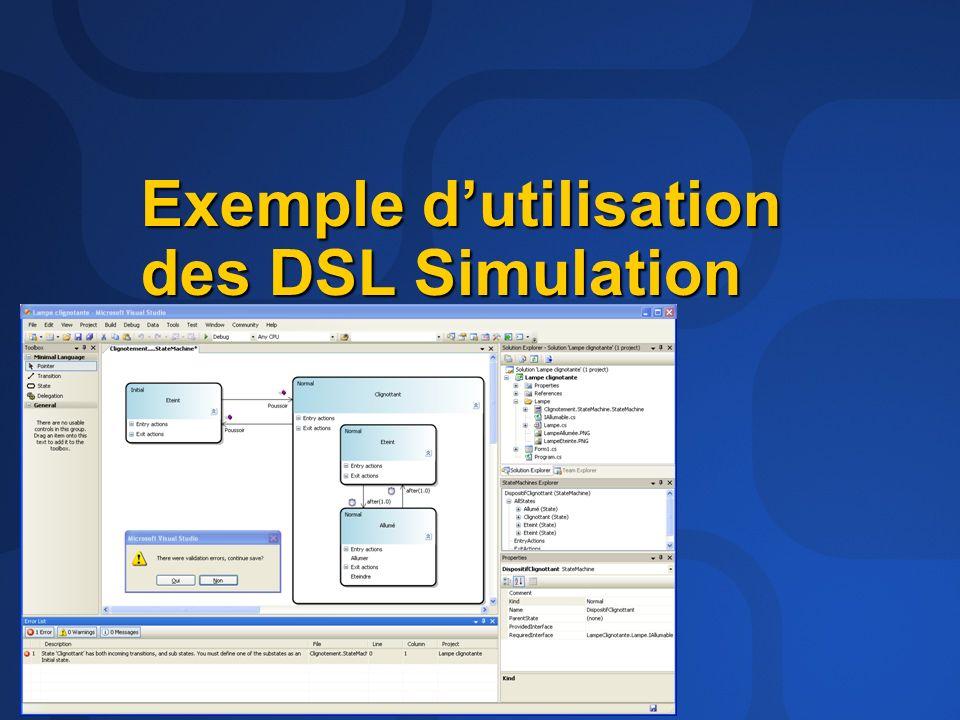 Exemple dutilisation des DSL Simulation