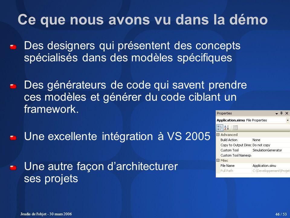 Jeudis de l'objet - 30 mars 2006 46 / 53 Ce que nous avons vu dans la démo Des designers qui présentent des concepts spécialisés dans des modèles spéc