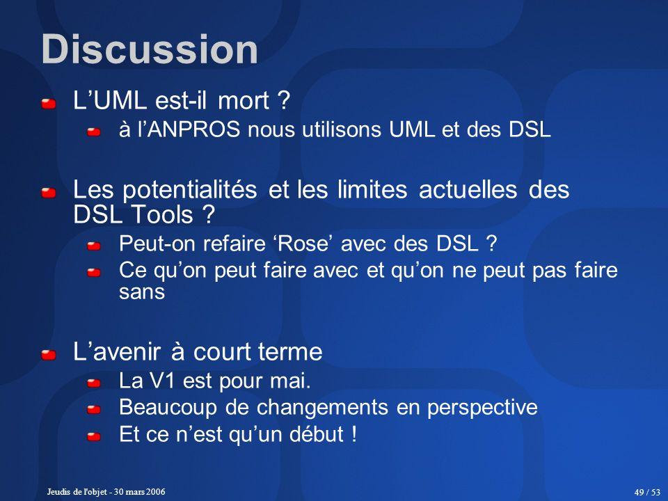 Jeudis de l'objet - 30 mars 2006 49 / 53 Discussion LUML est-il mort ? à lANPROS nous utilisons UML et des DSL Les potentialités et les limites actuel