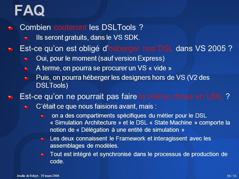 Jeudis de l'objet - 30 mars 2006 50 / 53 Combien couteront les DSLTools ? Ils seront gratuits, dans le VS SDK. Est-ce quon est obligé dhéberger nos DS