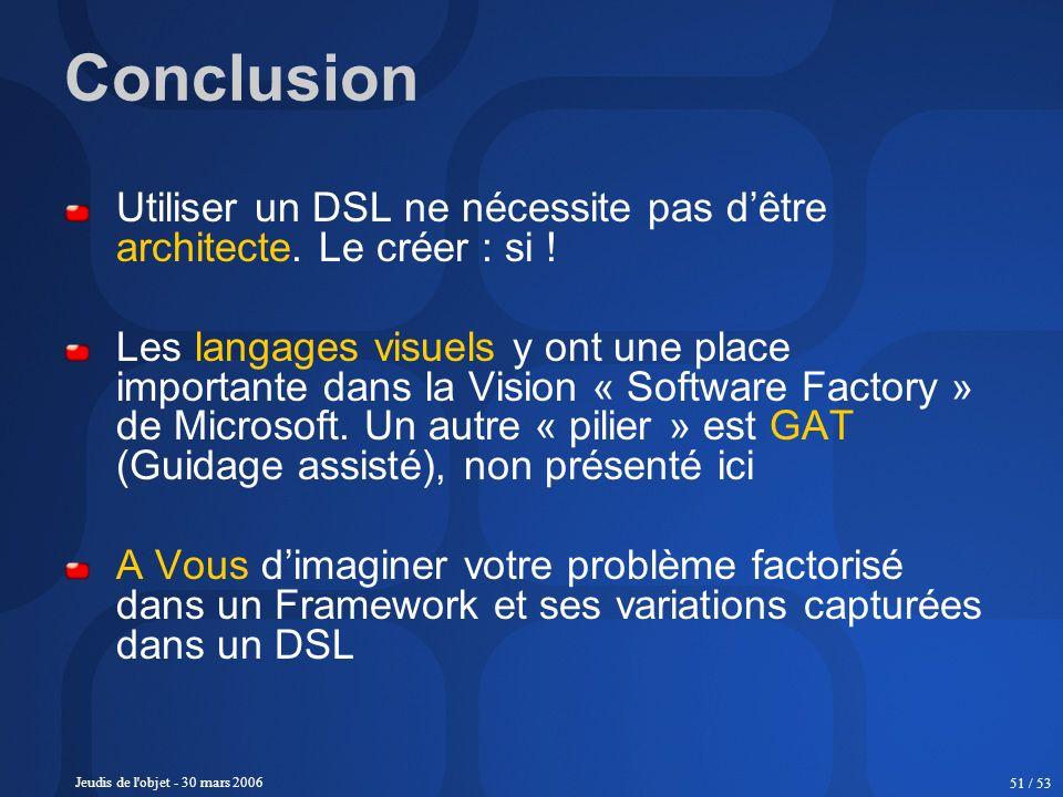 Jeudis de l'objet - 30 mars 2006 51 / 53 Conclusion Utiliser un DSL ne nécessite pas dêtre architecte. Le créer : si ! Les langages visuels y ont une