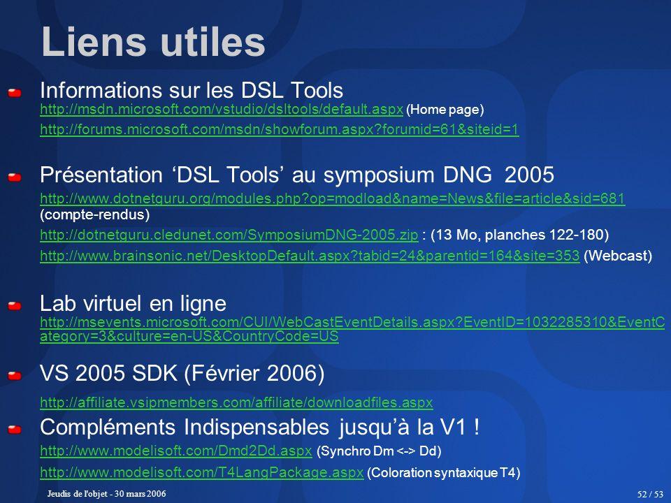 Jeudis de l'objet - 30 mars 2006 52 / 53 Liens utiles Informations sur les DSL Tools http://msdn.microsoft.com/vstudio/dsltools/default.aspxhttp://msd