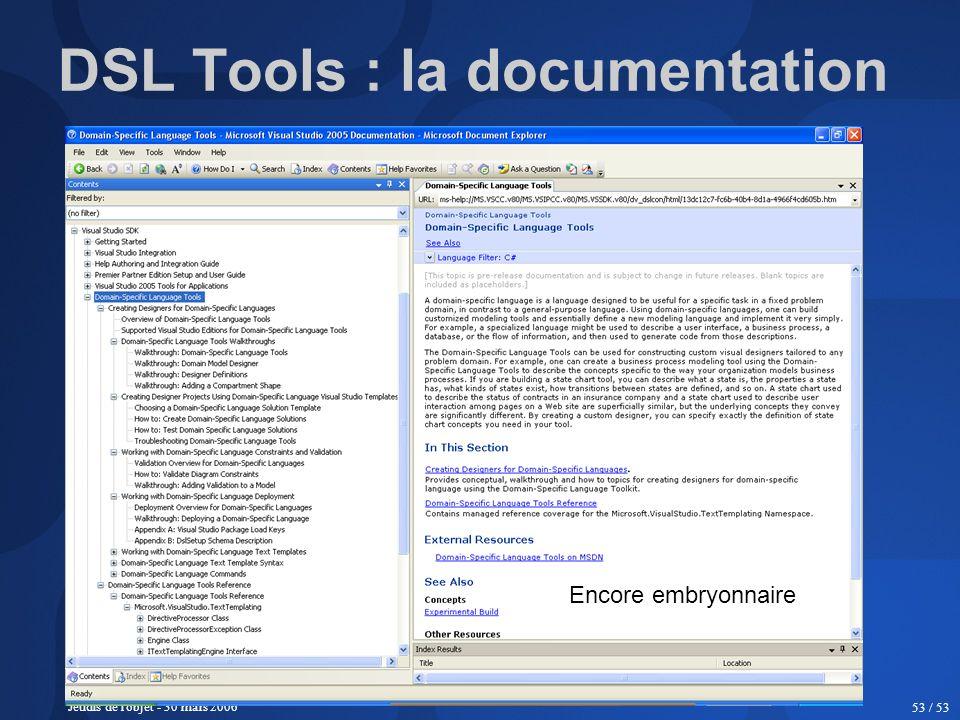 Jeudis de l'objet - 30 mars 2006 53 / 53 DSL Tools : la documentation Encore embryonnaire