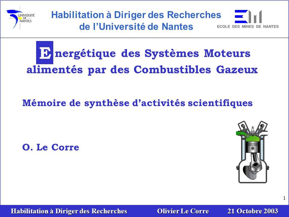 Habilitation à Diriger des Recherches Olivier Le Corre 21 Octobre 2003 52 Données énergétiques : Débit deaux usées : 100.000 m 3 /jour Débit de biogaz : 13.000 m 3 /jour Contenu énergétique : 88 MWh/jour Besoin électrique: 29 MWhe/jour Besoin thermique: 26 MWht/jour Résultats: Puissance du moteur Biogaz Production annuelle dénergies Réduction de pollution CO2 Degré dautonomie et économie dénergie Temps de retour brut Exemple C ogénération biogaz: traitement des eaux usées PLAN Thermodyn.