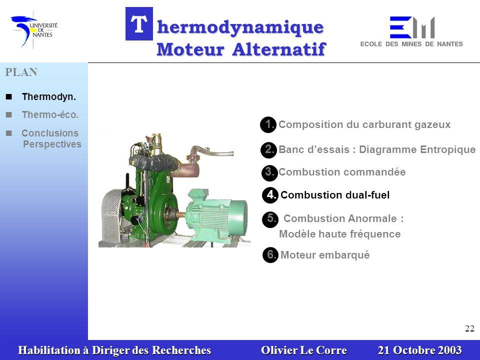 Habilitation à Diriger des Recherches Olivier Le Corre 21 Octobre 2003 22 1. Composition du carburant gazeux 3. Combustion commandée 2. Banc dessais :
