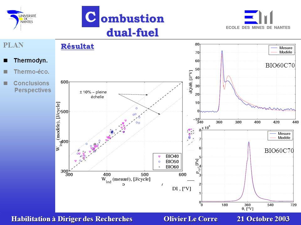 Habilitation à Diriger des Recherches Olivier Le Corre 21 Octobre 2003 25 C ombustion dual-fuel Résultat BIO60C70 PLAN Thermodyn. Thermo-éco. Conclusi