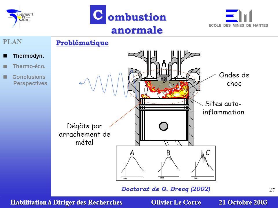 Habilitation à Diriger des Recherches Olivier Le Corre 21 Octobre 2003 27 Sites auto- inflammation Ondes de choc Dégâts par arrachement de métal A B C