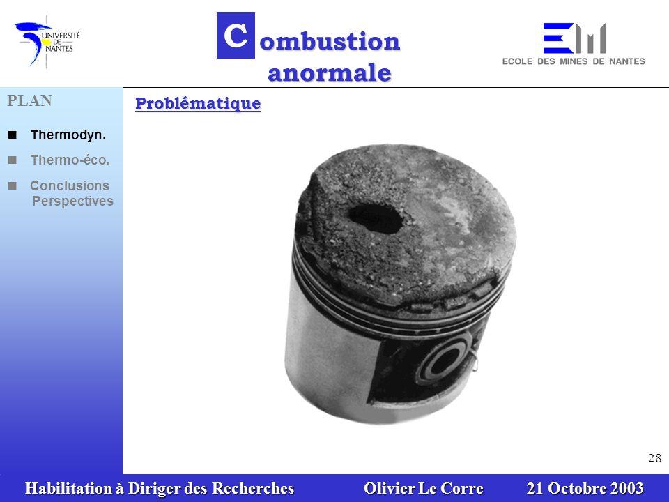Habilitation à Diriger des Recherches Olivier Le Corre 21 Octobre 2003 28 C ombustion anormale Problématique PLAN Thermodyn. Thermo-éco. Conclusions P