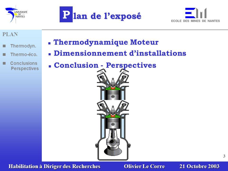 Habilitation à Diriger des Recherches Olivier Le Corre 21 Octobre 2003 3 Thermodynamique Moteur Dimensionnement dinstallations P lan de lexposé Conclusion - Perspectives PLAN Thermodyn.