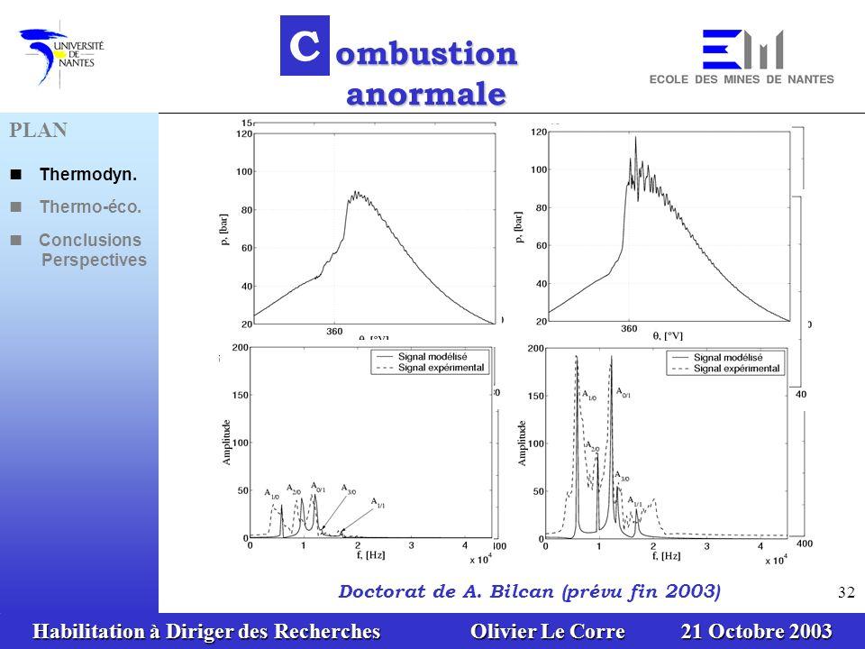 Habilitation à Diriger des Recherches Olivier Le Corre 21 Octobre 2003 32 C ombustion anormale Doctorat de A. Bilcan (prévu fin 2003) PLAN Thermodyn.