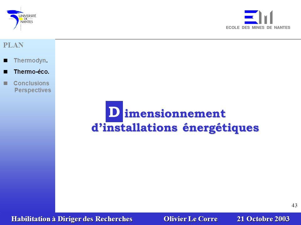 Habilitation à Diriger des Recherches Olivier Le Corre 21 Octobre 2003 43 PLAN Thermodyn. Thermo-éco. Conclusions Perspectives D imensionnement dinsta