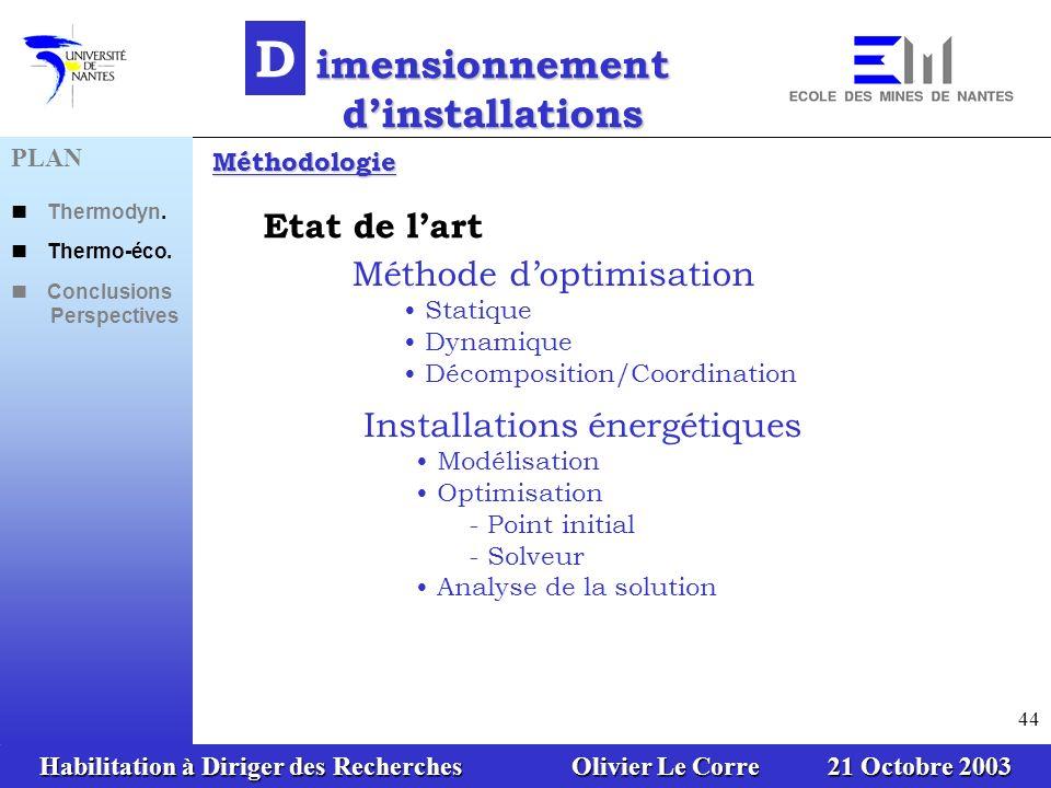 Habilitation à Diriger des Recherches Olivier Le Corre 21 Octobre 2003 44 D imensionnement dinstallations Etat de lart Méthode doptimisation Statique