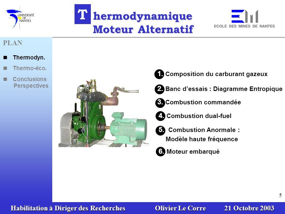 Habilitation à Diriger des Recherches Olivier Le Corre 21 Octobre 2003 56 Performance dune installation de tri-génération Indice de tri-génération Electricité Chaleur Froid T rigénération Définition PLAN Thermodyn.