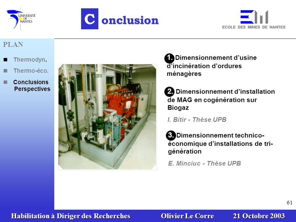 Habilitation à Diriger des Recherches Olivier Le Corre 21 Octobre 2003 61 1.