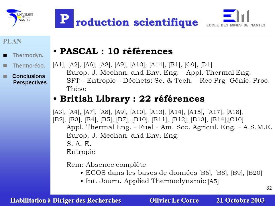Habilitation à Diriger des Recherches Olivier Le Corre 21 Octobre 2003 62 PASCAL : 10 références [A1], [A2], [A6], [A8], [A9], [A10], [A14], [B1], [C9