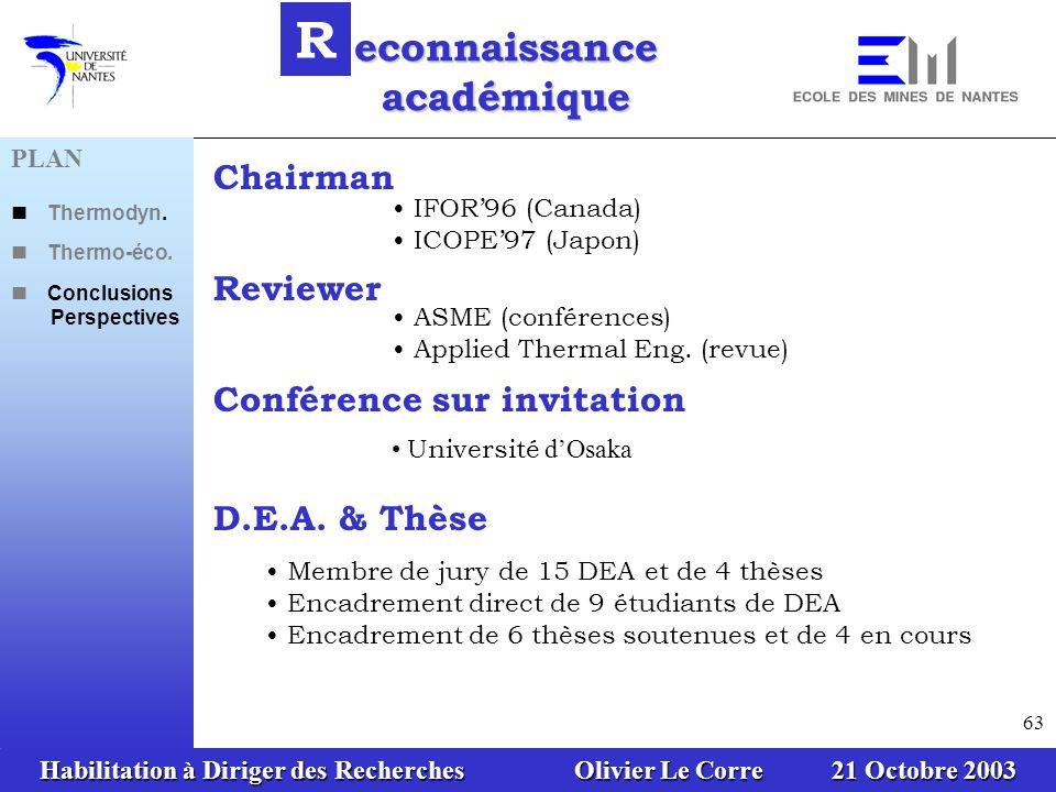Habilitation à Diriger des Recherches Olivier Le Corre 21 Octobre 2003 63 econnaissance académique R Chairman Reviewer Conférence sur invitation D.E.A.
