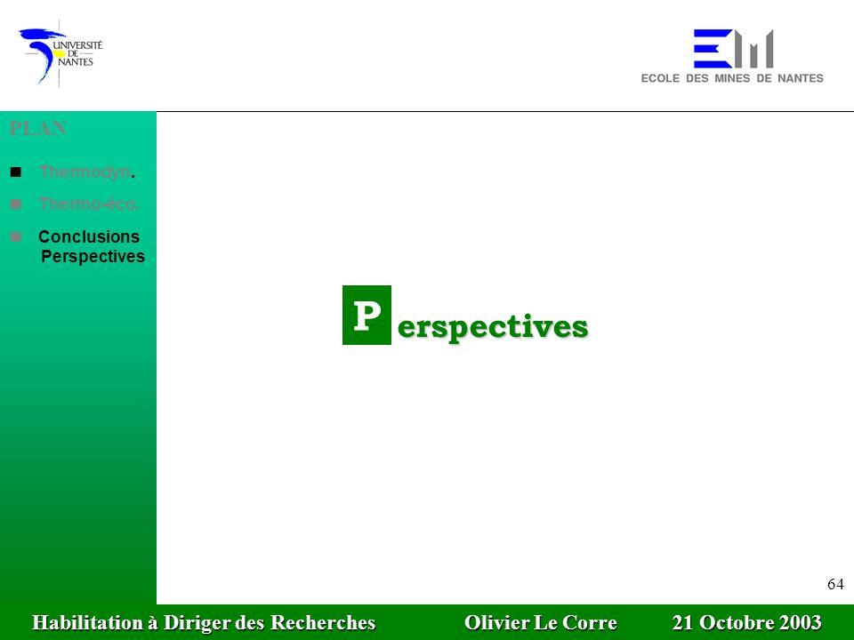 Habilitation à Diriger des Recherches Olivier Le Corre 21 Octobre 2003 64 P erspectives PLAN Thermodyn. Thermo-éco. Conclusions Perspectives Habilitat
