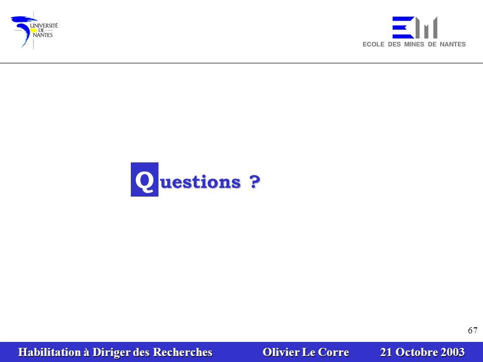 Habilitation à Diriger des Recherches Olivier Le Corre 21 Octobre 2003 67 Q uestions ?