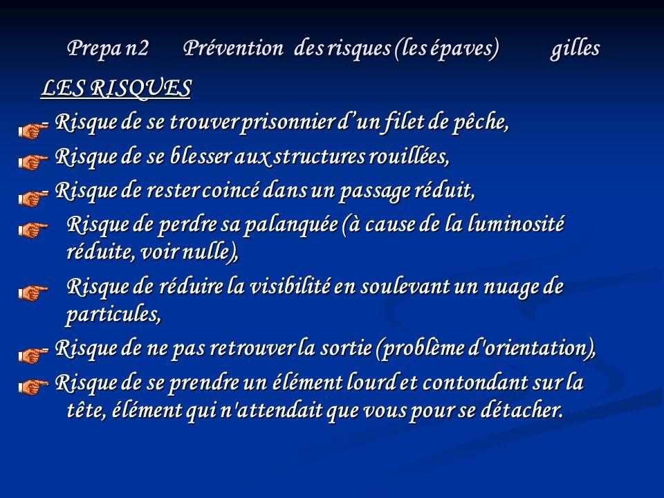 Prepa n2 Prévention des risques (les épaves) gilles LES RISQUES - Risque de se trouver prisonnier dun filet de pêche, - Risque de se blesser aux struc