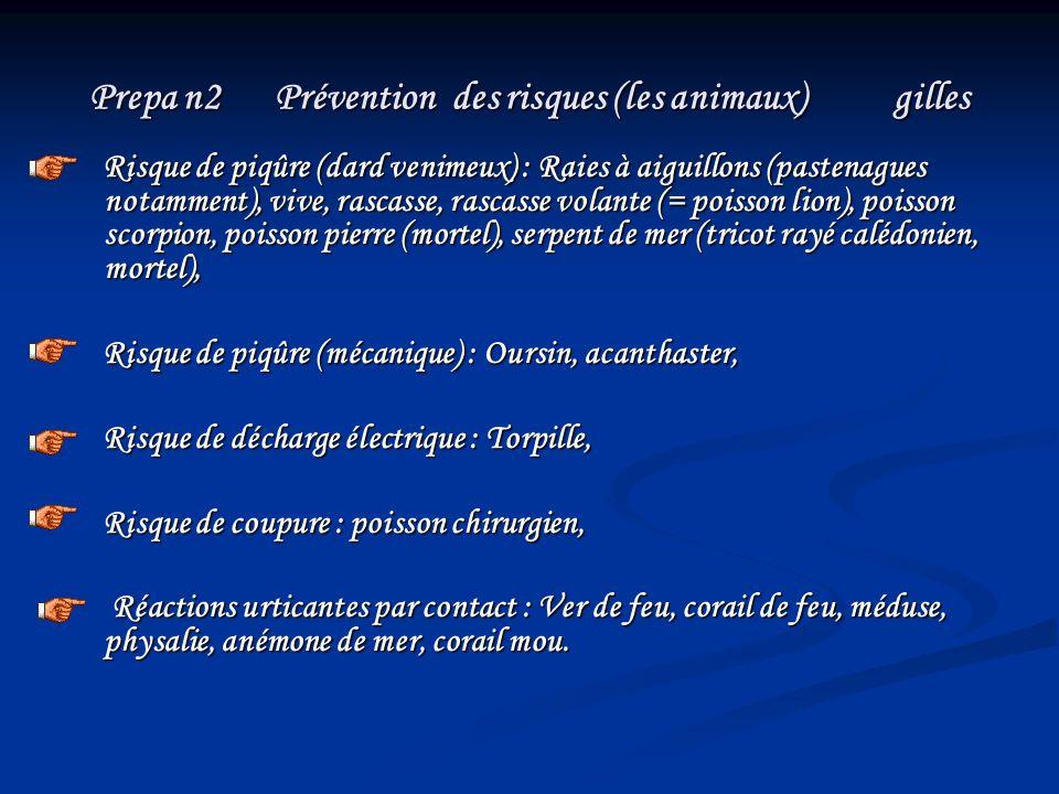 Prepa n2 Prévention des risques (les animaux) gilles Risque de piqûre (dard venimeux) : Raies à aiguillons (pastenagues notamment), vive, rascasse, ra