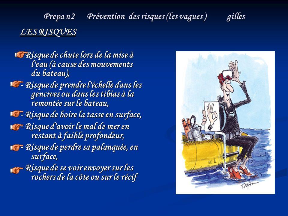 Prepa n2 Prévention des risques (les vagues ) gilles LES RISQUES - Risque de chute lors de la mise à l'eau (à cause des mouvements du bateau), - Risqu