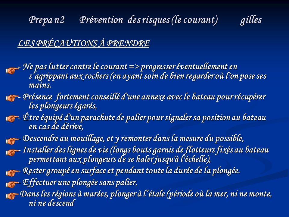 Prepa n2 Prévention des risques (le courant) gilles LES PRÉCAUTIONS À PRENDRE - Ne pas lutter contre le courant => progresser éventuellement en sagrip