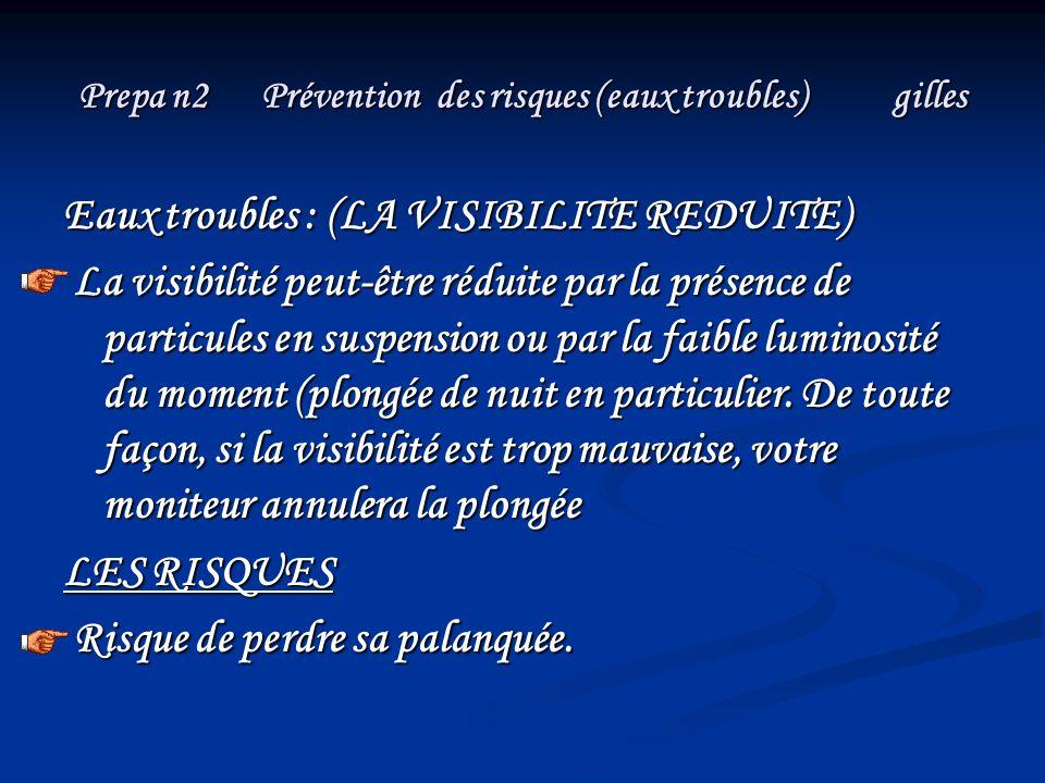 Prepa n2 Prévention des risques (eaux troubles) gilles Eaux troubles : (LA VISIBILITE REDUITE) Eaux troubles : (LA VISIBILITE REDUITE) La visibilité p