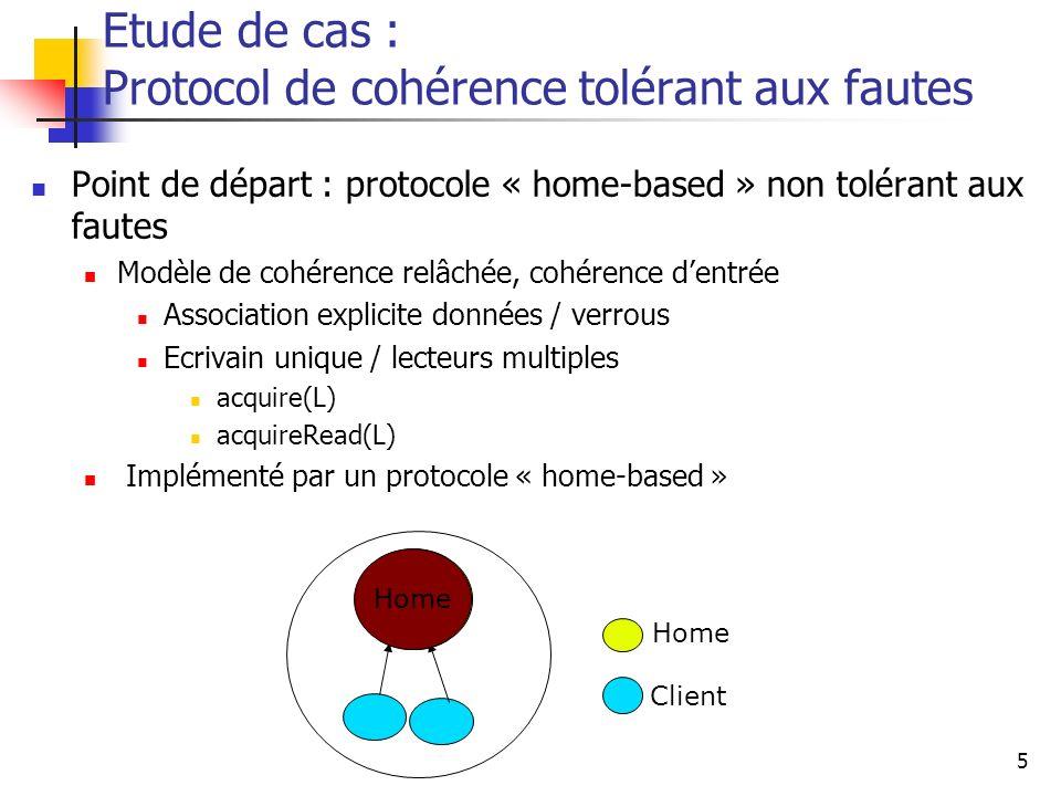 6 Idée : groupes tolérants aux fautes Répliquer les entités critiques sur un groupe de nœuds Gestion des groupes de nœuds : protocoles de composition de groupe Diffusion atomique Exemple darchitecture: A.