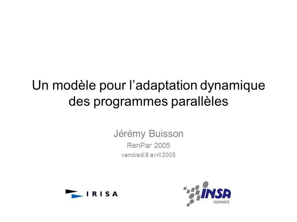 Un modèle pour ladaptation dynamique des programmes parallèles Jérémy Buisson RenPar 2005 vendredi 8 avril 2005