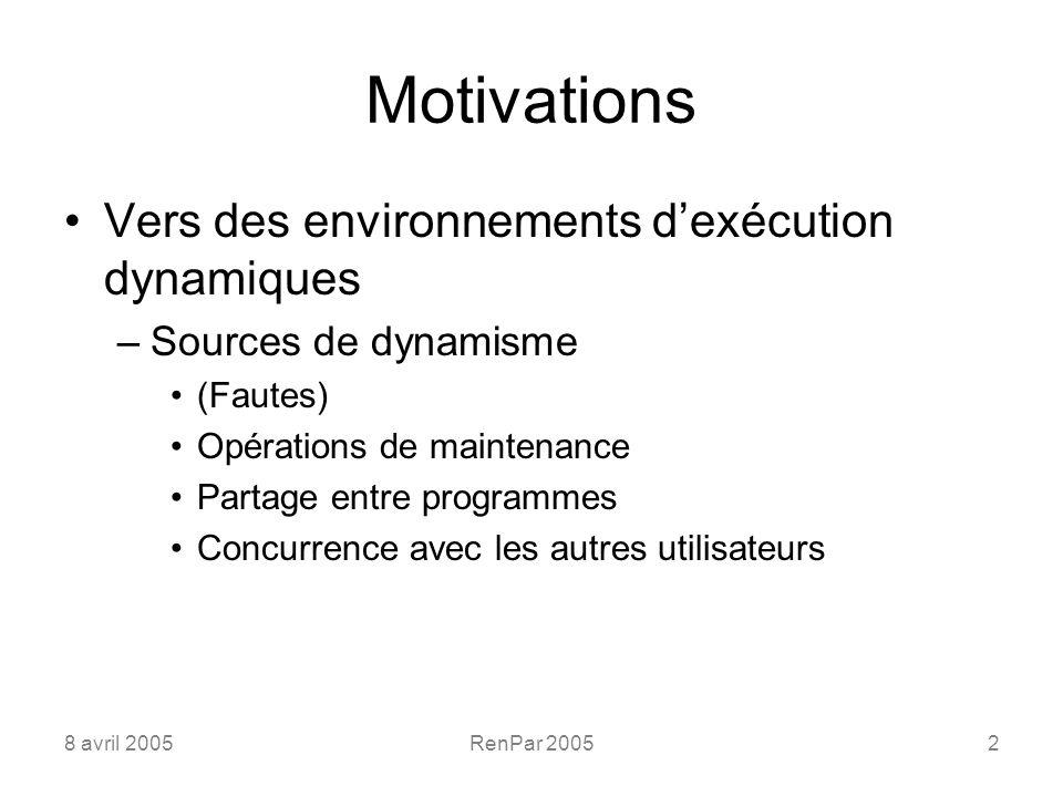 8 avril 2005RenPar 20052 Motivations Vers des environnements dexécution dynamiques –Sources de dynamisme (Fautes) Opérations de maintenance Partage entre programmes Concurrence avec les autres utilisateurs