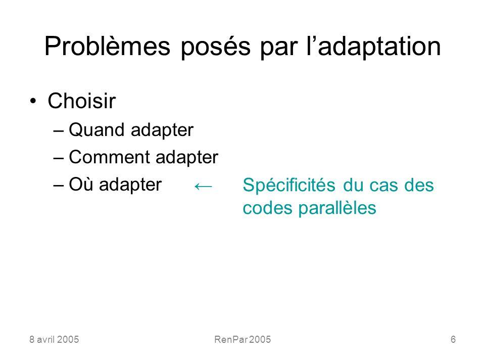 8 avril 2005RenPar 20056 Problèmes posés par ladaptation Choisir –Quand adapter –Comment adapter –Où adapter Spécificités du cas des codes parallèles