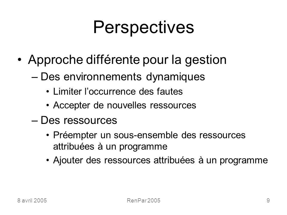 8 avril 2005RenPar 20059 Perspectives Approche différente pour la gestion –Des environnements dynamiques Limiter loccurrence des fautes Accepter de nouvelles ressources –Des ressources Préempter un sous-ensemble des ressources attribuées à un programme Ajouter des ressources attribuées à un programme