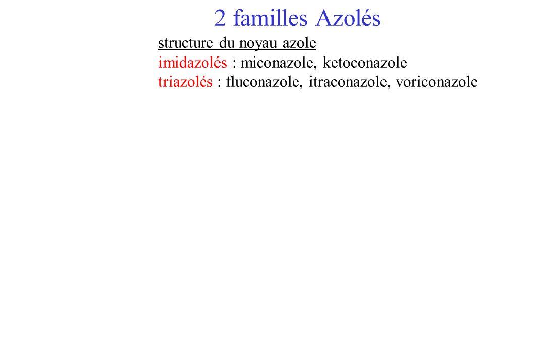 2 familles Azolés structure du noyau azole imidazolés : miconazole, ketoconazole triazolés : fluconazole, itraconazole, voriconazole