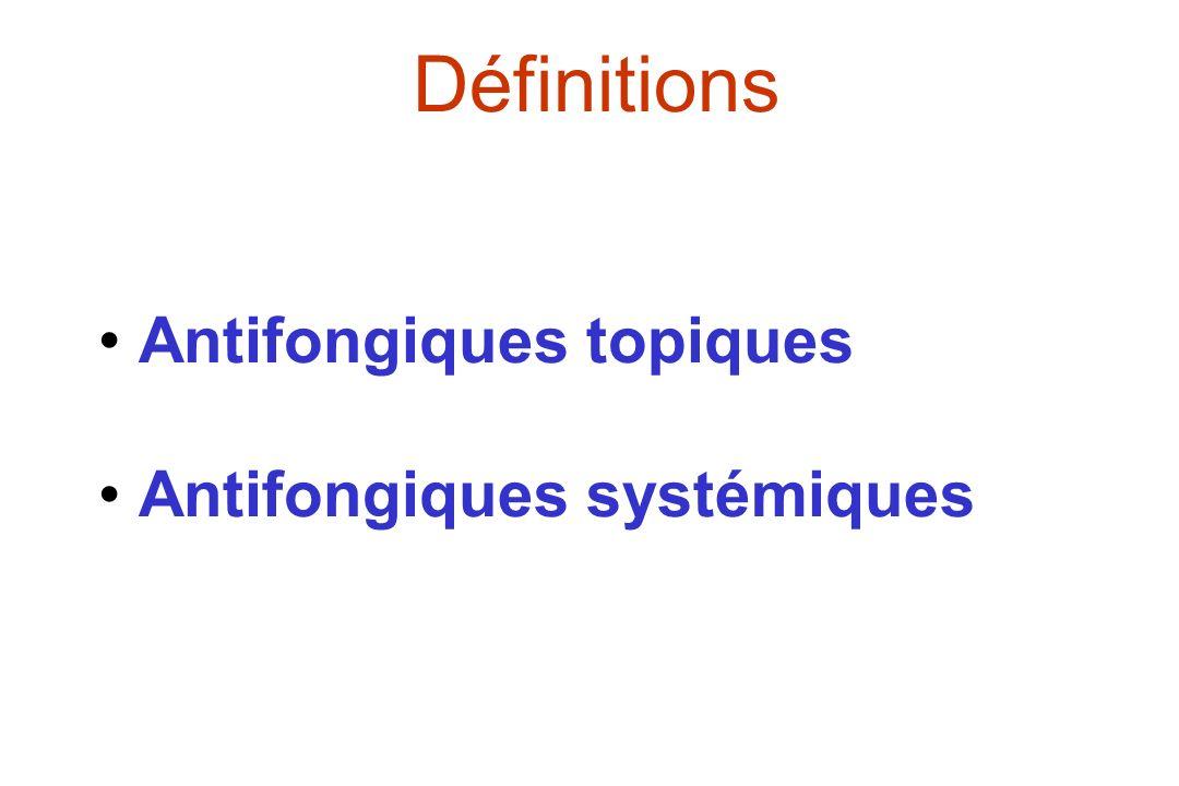 Il existe 3 formulations lipidiques dAmB Nom posologie Fungizone ® 0,6 mg/kg AmBisome ® 3 mg/kg Abelcet ® (ABLC) 5 mg/kg Amphocil ® ABCD Composition Désoxycholate NSPC/Cho /DSPG DMPC /DMPG Cholestéryl sulfate Forme taille Micelles <20 nm vésicules 60-80 nm Rubans 1,6 - 11 µm Disques 122 nm %AmB mole 34 10 35 50 ASC vs Fungizone - Supérieure Inférieure Identique C max µg/ml 1 ± 0,5 23 ±10 2 ± 0,8