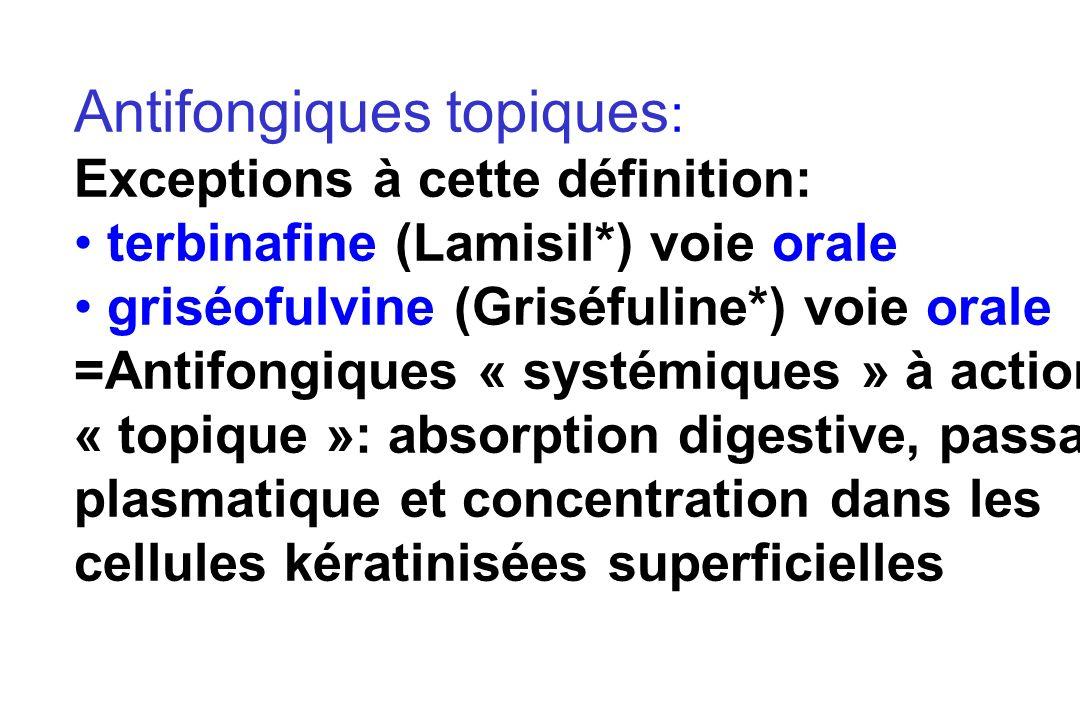Définitions Antifongiques topiques: actifs in situ, par contact, non absorbés par le tube digestif après prise orale Antifongiques systémiques: absorbés par voie orale ou par voie IV avec diffusion au niveau du foyer infectieux