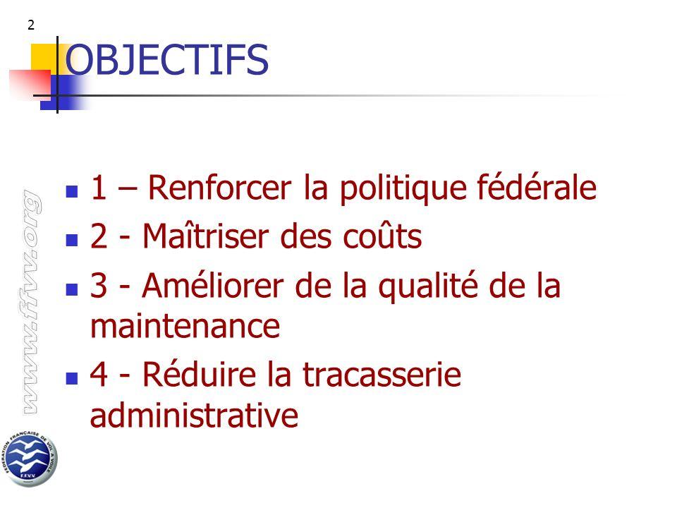 2 OBJECTIFS 1 – Renforcer la politique fédérale 2 - Maîtriser des coûts 3 - Améliorer de la qualité de la maintenance 4 - Réduire la tracasserie admin