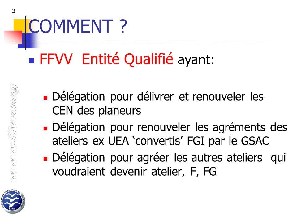 3 COMMENT ? FFVV Entité Qualifié ayant: Délégation pour délivrer et renouveler les CEN des planeurs Délégation pour renouveler les agréments des ateli