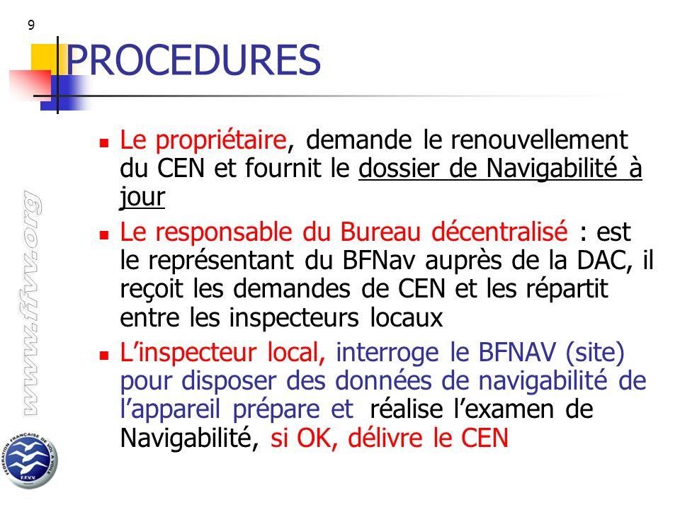 9 PROCEDURES Le propriétaire, demande le renouvellement du CEN et fournit le dossier de Navigabilité à jour Le responsable du Bureau décentralisé : es