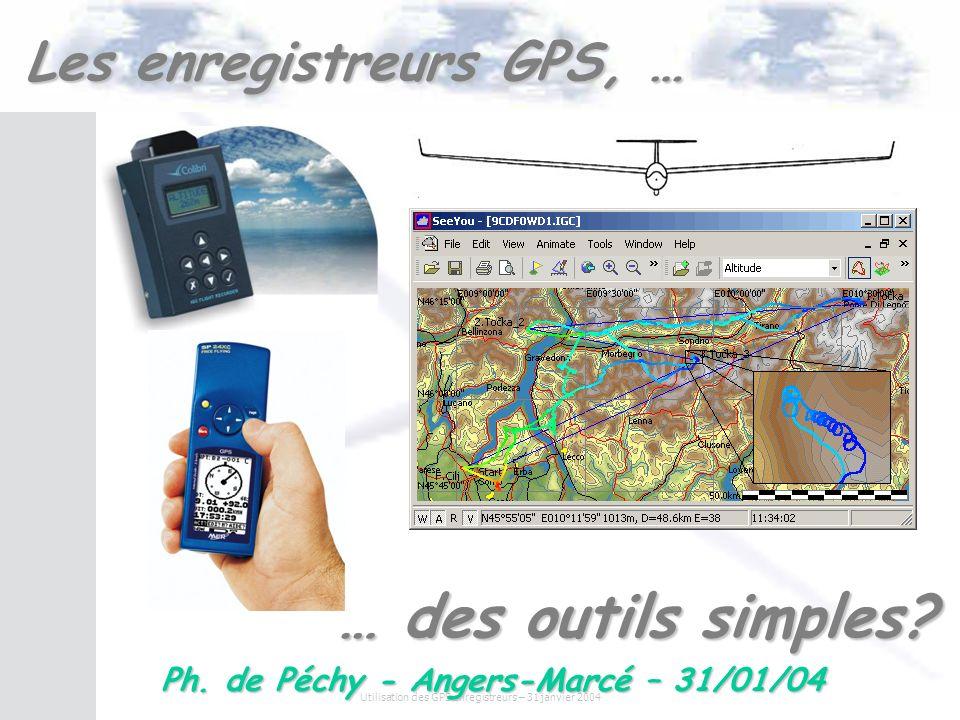 Utilisation des GPS enregistreurs – 31 janvier 2004 Inconvénients Loggers IGC vs Enregistreur GPS Prix –Matériel vélivole (non grand public) –Mini : 800 Mais –Cest le prix dun barographe classique.