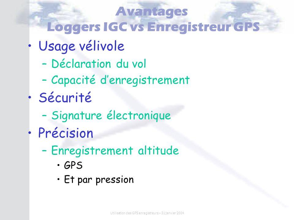 Utilisation des GPS enregistreurs – 31 janvier 2004 Avantages Loggers IGC vs Enregistreur GPS Usage vélivole –Déclaration du vol –Capacité denregistre