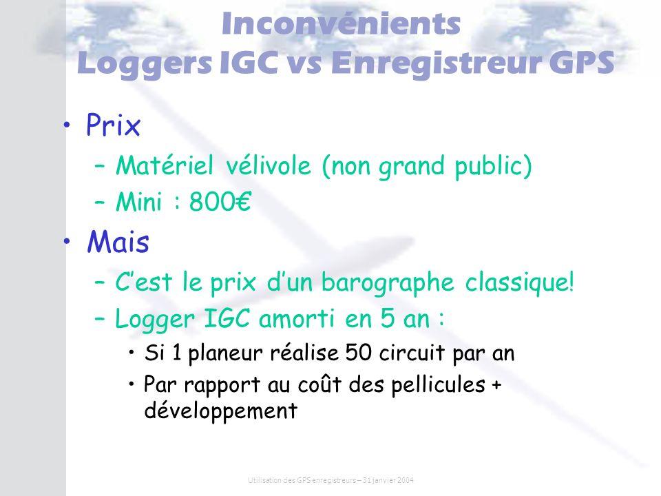 Utilisation des GPS enregistreurs – 31 janvier 2004 Inconvénients Loggers IGC vs Enregistreur GPS Prix –Matériel vélivole (non grand public) –Mini : 8