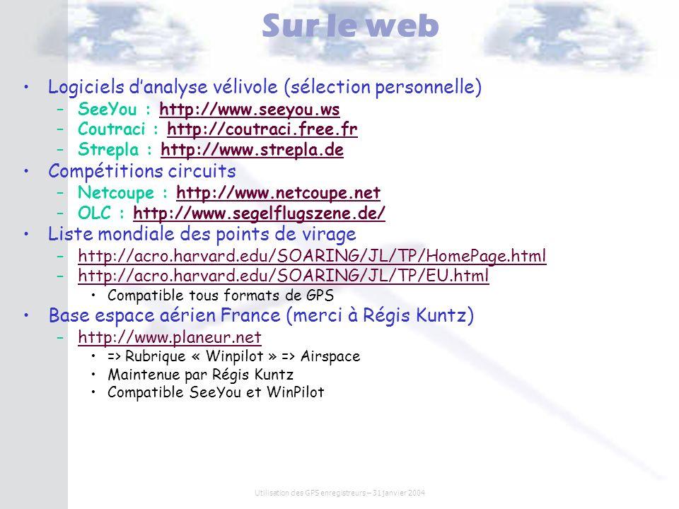 Utilisation des GPS enregistreurs – 31 janvier 2004 Sur le web Logiciels danalyse vélivole (sélection personnelle) – –SeeYou : http://www.seeyou.wshtt