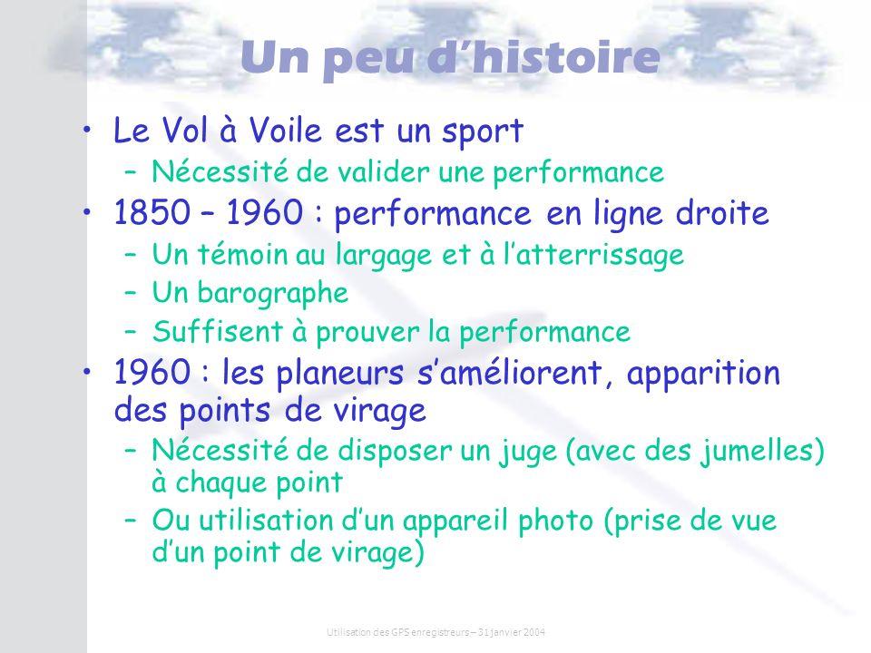 Utilisation des GPS enregistreurs – 31 janvier 2004 Un peu dhistoire Le Vol à Voile est un sport –Nécessité de valider une performance 1850 – 1960 : p