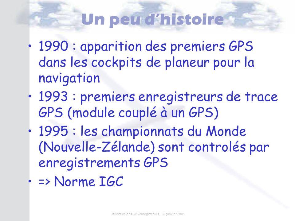 Utilisation des GPS enregistreurs – 31 janvier 2004 Un peu dhistoire 1990 : apparition des premiers GPS dans les cockpits de planeur pour la navigatio