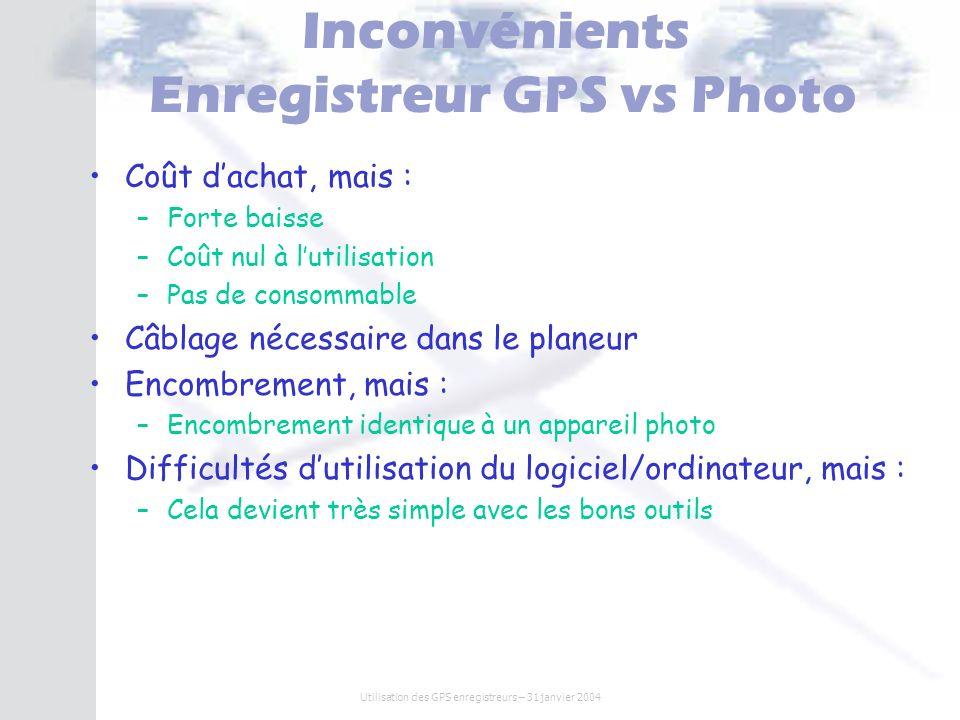 Utilisation des GPS enregistreurs – 31 janvier 2004 Inconvénients Enregistreur GPS vs Photo Coût dachat, mais : –Forte baisse –Coût nul à lutilisation