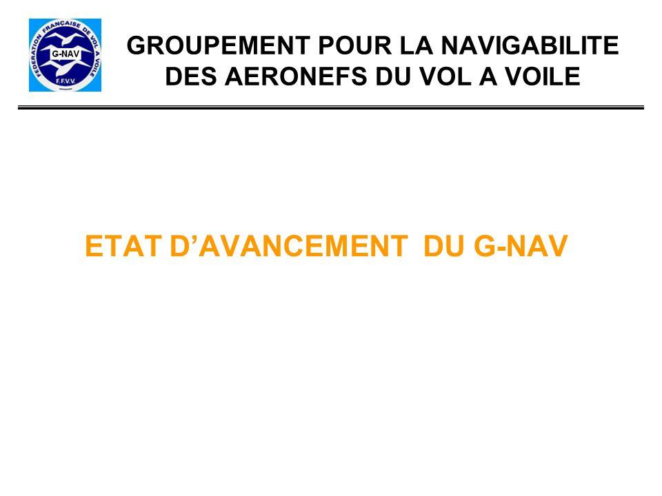 GROUPEMENT POUR LA NAVIGABILITE DES AERONEFS DU VOL A VOILE ETAT DAVANCEMENT DU G-NAV