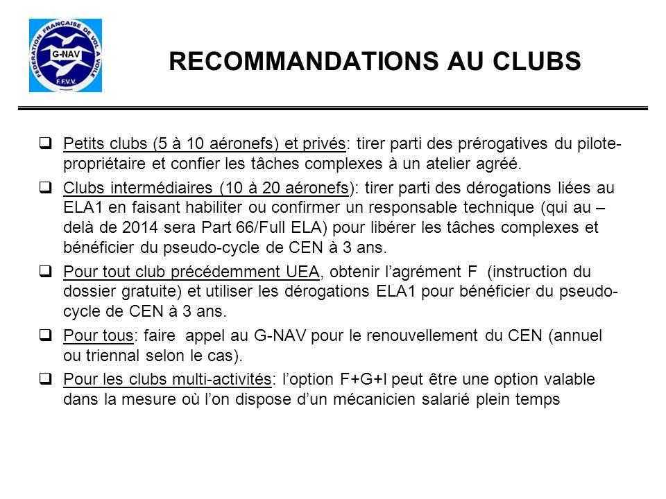 RECOMMANDATIONS AU CLUBS Petits clubs (5 à 10 aéronefs) et privés: tirer parti des prérogatives du pilote- propriétaire et confier les tâches complexe