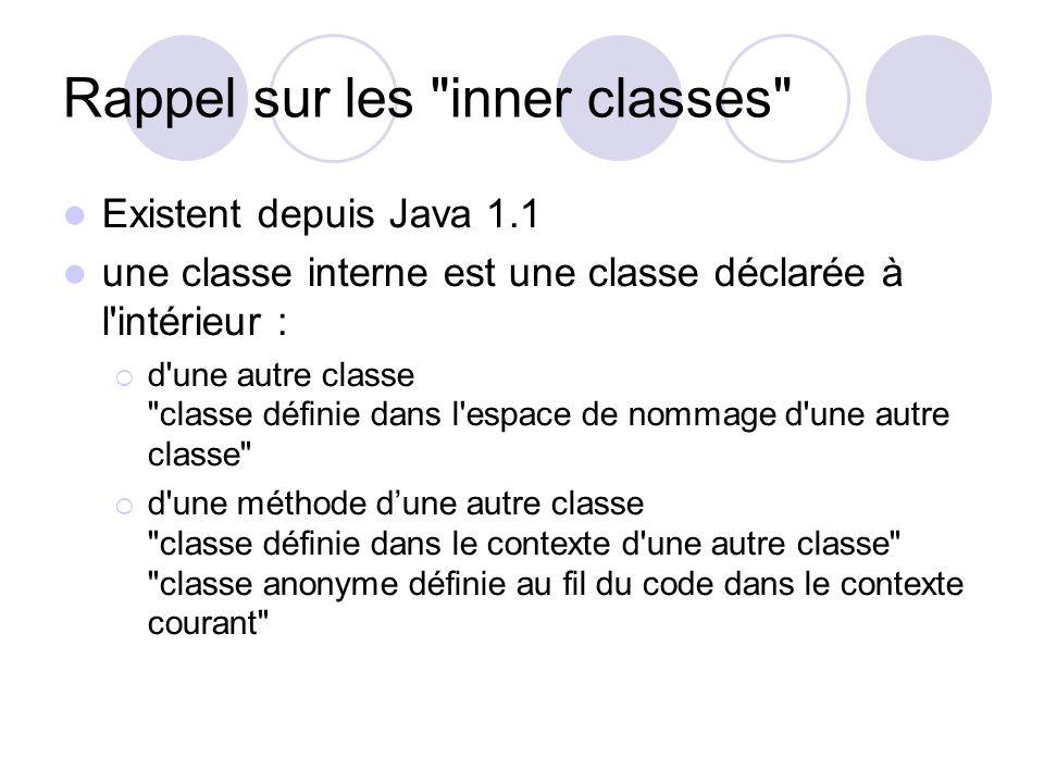 Rappel sur les inner classes Existent depuis Java 1.1 une classe interne est une classe déclarée à l intérieur : d une autre classe classe définie dans l espace de nommage d une autre classe d une méthode dune autre classe classe définie dans le contexte d une autre classe classe anonyme définie au fil du code dans le contexte courant