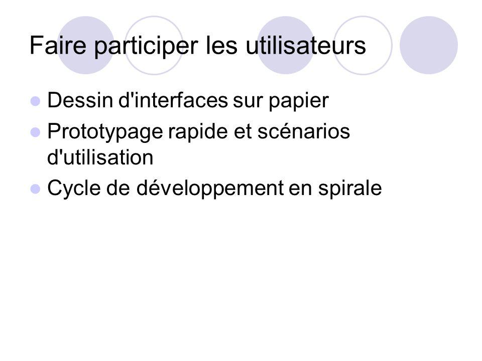 Faire participer les utilisateurs Dessin d interfaces sur papier Prototypage rapide et scénarios d utilisation Cycle de développement en spirale