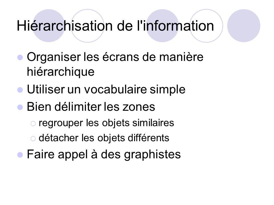 Hiérarchisation de l information Organiser les écrans de manière hiérarchique Utiliser un vocabulaire simple Bien délimiter les zones regrouper les objets similaires détacher les objets différents Faire appel à des graphistes